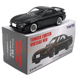 Takara Tomy TOMYTEC Tomica Limited 1/64 Vintage Neo TLV-N177a Efini Mazda RX-7 Type RZ Black Scale Model Car