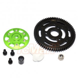 GPM Racing Aluminum Spur Gear Adapter w/ Steel 32 Pitch 66T Spur Gear Set Green For Axial Yeti