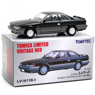 Takara Tomy TOMYTEC Tomica Limited 1/64 Vintage NEO TLV-N118d Nissan LEOPARD XS-II Black Gray Scale Model Car