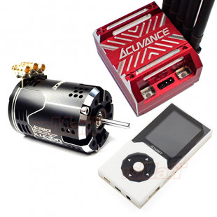 Acuvance (KEYENCE) Luxon Agile Brushless 10.5T Motor Black w/ Xarvis Brushless ESC System Red w/ Program Card